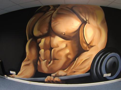 Weight Lifter Gym Mural