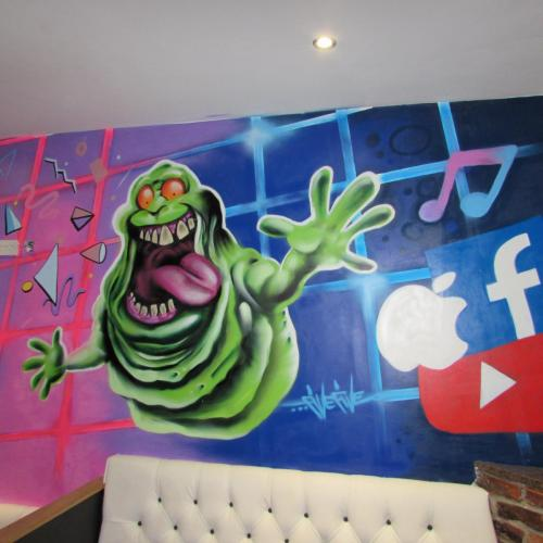 Slimer Ghostbusters 80's graffiti art